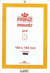 PRINZ CLEAR MOUNTS 184X184 (4) RETAIL PRICE $10.50