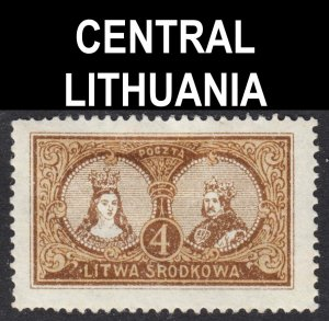 Central Lithuania Scott 38 perf 13 1/2 F to VF mint OG HHR. Lot # A