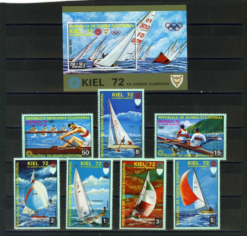 EQUATORIAL GUINEA 1972 WATER SPORTS/OLYMPIC GAMES KIEL 7 STAMPS & S/S  MNH