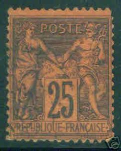 FRANCE Scott 93, Used stamp GREAT Color 1878 CV $20.00