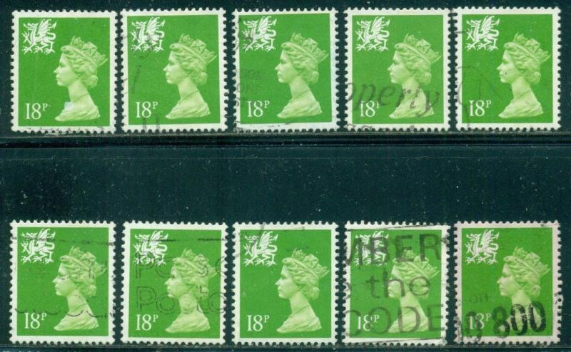 GREAT BRITAIN WALES SG-W48, SCOTT WMMH-34, USED, 10 STAMPS, GREAT PRICE!