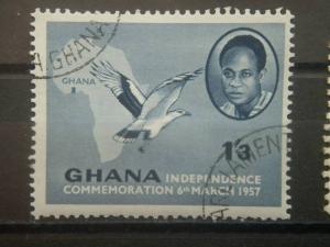 GHANA, 1957, used 1sh3p, Independence Scott 4