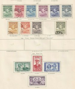 BASUTOLAND  ALBUM PAGE  VALUES 1938 TO 10/- AND 1947 ROYAL VISIT