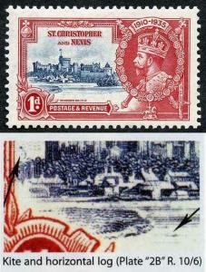 St Christopher and Nevis SG61l Silver Jubilee 1d Kite and Horizontal Log Variety