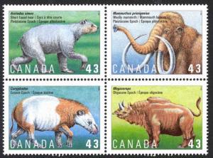 Canada 1994 , MNH Block  43¢ Prehistoric Mammals # 1532a
