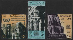 EGYPT, 681-683, (3) SET, HINGED, 1965, Ramses II, Abu Simbel and ICY Emblem