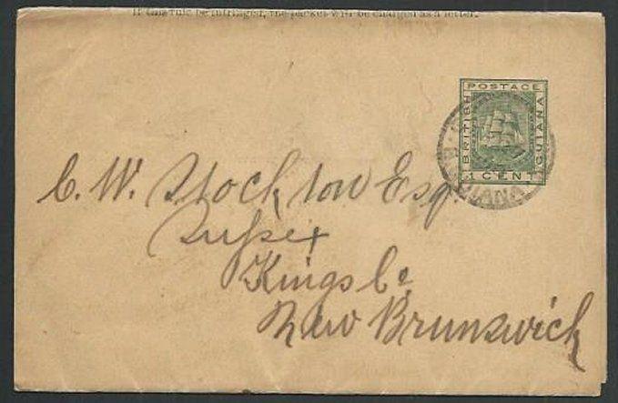 BR GUIANA 1898 1c newspaper wrapper used to  NEW BRUNSWICK, Canada.........61469