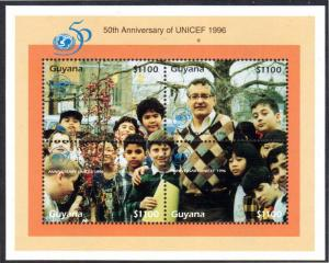 GUYANA #3027 S/S 50th Ann UNICEF 2013 SCV $70