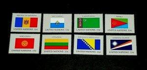 U.N. 1999, NEW YORK #744-751, FLAG SERIES, SINGLES, SET OF 8, MNH, NICE! LQQK!