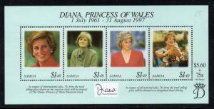 Samoa Sc 956 1998 Princess Diana stamp sheet mint NH