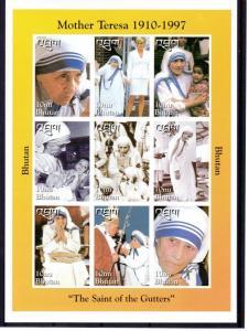 Bhutan 1998 Sc#1191a  Mother Teresa/Pope John Paul II/Diana Sheetlet IMPERF.MNH