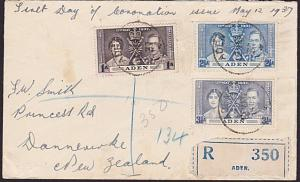 ADEN 1937 Coronation registered FDC to New Zealand.........................6599