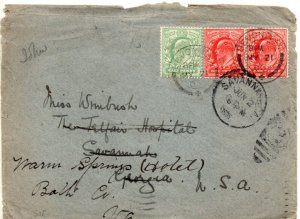 1902 Sg 217/219 ½d/1d on 1905 Cover From Devonport to Savanna