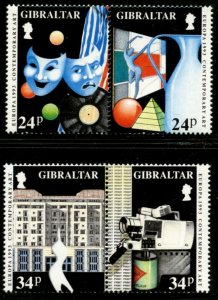 GIBRALTAR Sc#626-629 in Pairs 1993 Europa Contemporary Art Complete Mint NH