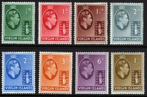British Virgin Islands KGVI 1938 ORDINARY SG110a-SG117a Mint Hinged