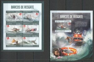 ST2604 2013 MOZAMBIQUE TRANSPORT RESCUE SHIPS & BOATS BARCOS KB+BL MNH