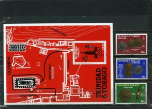 TRINIDAD & TOBAGO 1980 SUMMER OLYMPIC GAMES MOSCOW SET OF 3 STAMPS & S/S  MNH