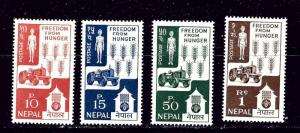 Nepal 159-62 MNH 1963 Freedom from Hunger set