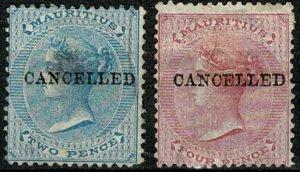 MAURITIUS QV 1878 2d & 4d optd CANCELLED UNUSED SG59 & 62 Wmk.CROWN CC VGC