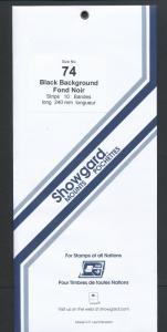 Showgard Stamp Mounts Size 74 / 240 BLACK Background Pack of 10