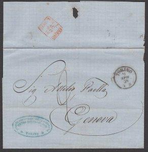 ITALY 1859 entire wrapper TORINO TO GENOA...................................R369
