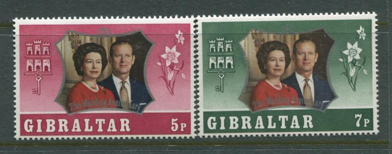 Gibraltar - Scott 292-293 - Silver Wedding -1972 - MNH - Set of 2 Stamps