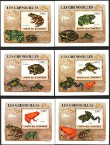 {114} Comoros 2009 Frogs 6 S/S Deluxe MNH**