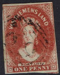TASMANIA 1855 QV CHALON 1D IMPERF WMK STAR USED