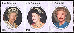 Gambia 1744, MNH, 70th Birthday of Queen Elizabeth II strip of 3