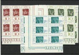 Liechtenstein 1965 Mint Never Hinged Stamp Set Blocks Ref 28590