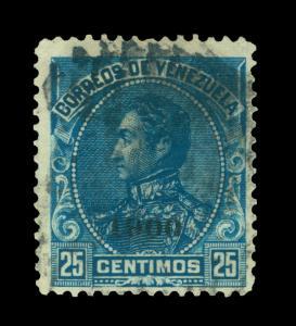 VENEZUELA 1900  Bolivar 25c blue  ovpt - 1900 -  Scott # 158 used - scarce