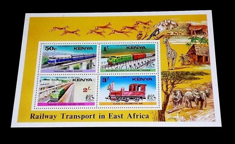 KENYA #67a, 1976, RAILWAYS, LOCOMOTIVES, SOUVENIR SHEET, MNH, NICE! LQQK