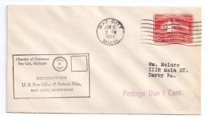 Bay City MI Post Office Dedication 1933 Postage Due U525