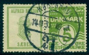 DENMARK (RE61) 5ore green ALFRED BENZON SAEBER used