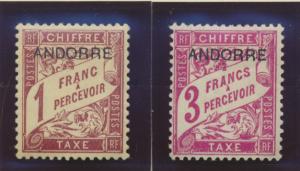 Andorra (French) Stamps Scott #J3 To J7, Mint, Hinge Remnants, Short Set - Fr...