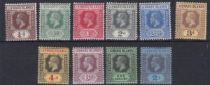 LEEWARD ISLANDS  1912 - 22   S G  46 - 55   VARIOUS   VALUES TO 2/-    MH