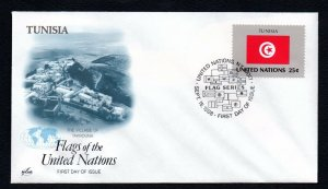 1989- United Nations- Tunisia- Flag series- First-Day Cover- FDC- September 22,