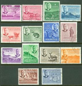 EDW1949SELL : MAURITIUS 1950 Scott #235-49 VF, Used with neat cancels Cat $81.00