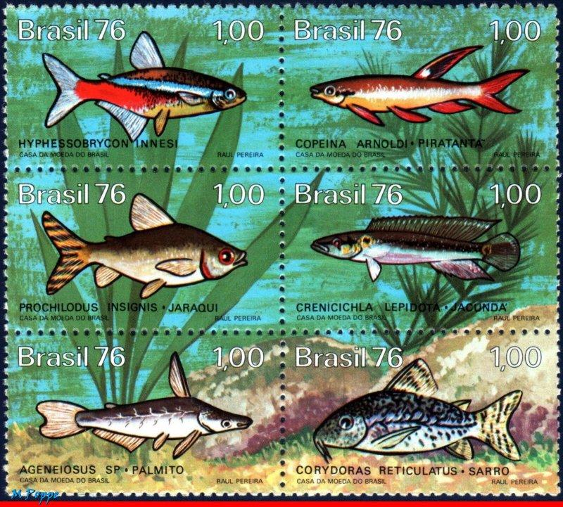 Brazil MNH Block 1465a Fresh Water Fish 1976