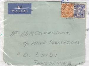 Zanzibar 1938 20c 30c Airmail Cover Front To Tanganyika X8862