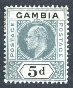 Gambia 1904 KEVII. 5d grey & black. MC CA. Mint. LH. SG63.