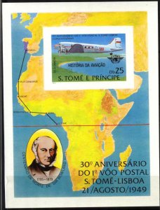 Sao Tome and Principe 1979 History of Aviation Airplanes S/S Imperf. MNH