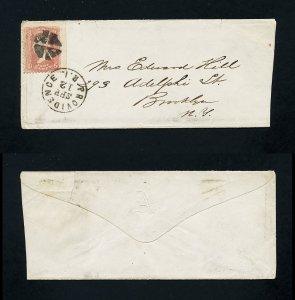 # 65 on cover from Providence, RI to Brooklyn, NY dated 9-21-1860's