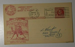 Michigan Stamp Club Exhibition & Bourse Detroit MI 1954 Philatelic Expo Postcard