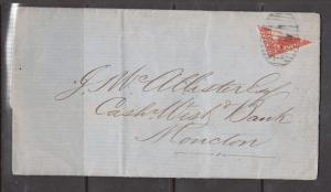 New Brunswick #9a Very Fine Used Bisect On Cover To Moncton **With Certificate**