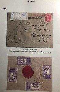 1941 Buqush Egypt Indian Base FPO 13 Airmail  Cover To Aurangabad