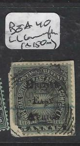BRITISH EAST AFRICA  (P3105B)  5A PIECE  SG 40 LL CORNER ROUNDED  SCARCE  VFU