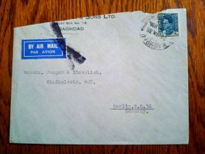 """V.RARE IRAQ 1938 """"COMMERCIAL"""" AIRMAIL COVER TO GERMANY HARD TO FIND"""