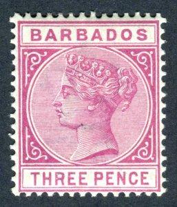 Barbados 1882 QV. 3d reddish purple. Mint. LH. SG96.