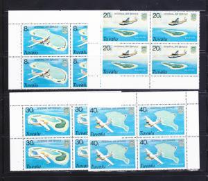 Tuvalu 118-121 Blocks of 4 Set MNH Planes (F)